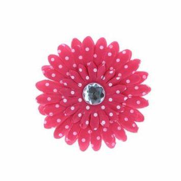 Hair Accessory Hot Pink Polka Dot Rhinestone Daisy Flower Hairclip