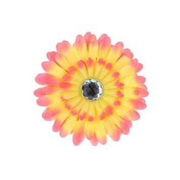 Hair Accessory Pink Ombre Rhinestone Daisy Flower Hairclip