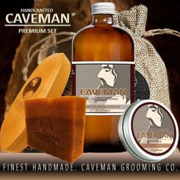 Caveman Beard Oil, Balm, Soap and Brush Kit - Leave in Conditioner Scent: Hunter Black Coffee