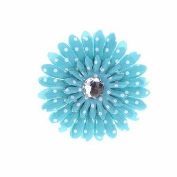 Hair Accessory Turquoise Polka Dot Rhinestone Daisy Flower Hairclip