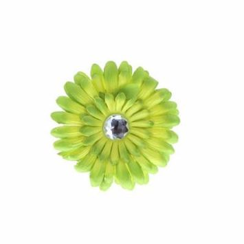 Hair Accessory Green Ombre Rhinestone Daisy Flower Hairclip