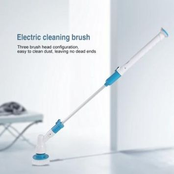 HURRISE 3 Heads Electric Spin Scrubber Cleaning Brush Bathroom Floor Tiles Household Clean Tool US Plug
