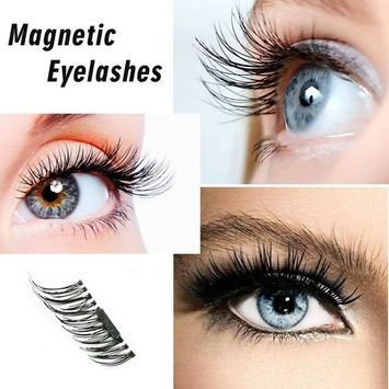 False Magnetic Eyelashes, 3D Reusable Fake Eyelashes for Nature Look, 0.2mm Ultra Thin Magnetic Eyelashes Set, Perfect for Deep Eyes& Round Eyes, 1pair 4 pieces