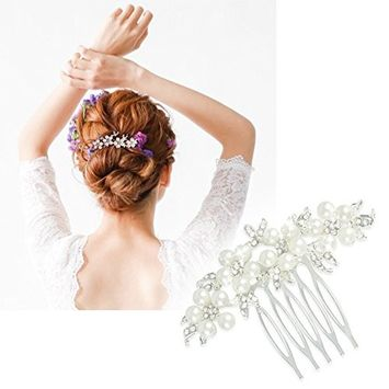 CINEEN Wedding Hair Combs Hair Accessories with Bead and Rhinestones Jewelry Bridal Hair Headpiece for Women, Silver