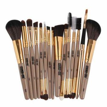 DZT1968 15PCS Make Up Foundation Eyebrow Eyeliner Blush Cosmetic Concealer Brushes BK