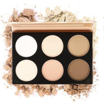 Eshion 6 Color Contour Face Powder Makeup Blush Brownzer Concealer Palette with Mirror