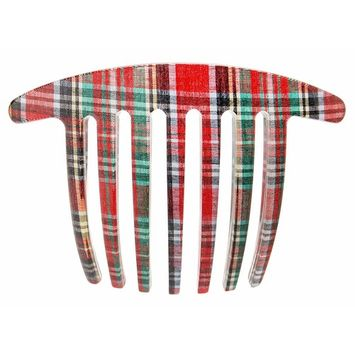 France Luxe Handmade French Twist Comb - Tartan Plaid Red/Green
