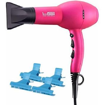 HSI Professional Dryonizer 5500 TURBO PINK Ceramic Blow Dryer, Includes A Bonus of 4 BeauWis Butterfly Clamps