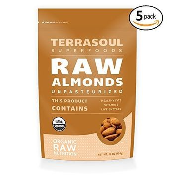 Terrasoul Superfoods Raw Unpasteurized Organic Almonds (Sproutable), 5 Pounds