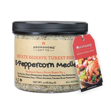 AROMASONG Gourmet All-Natural Flavored Turkey Brine, Made with DEAD SEA SALT. Instructions and Recipes included, to create the Ultimate Brining Experience (5-Peppercorn Medley)