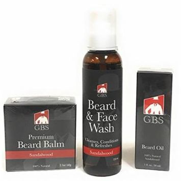 Beard Grooming 3 Piece Set - Beard & Face Wash, Beard Oil, Beard Balm