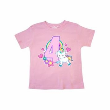 I am 4 years old with Unicorn and Hearts Toddler T-Shirt