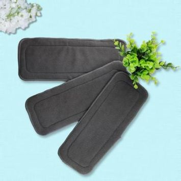 5 Pcs/Set Reusable 4 Layers Of Bamboo Charcoal Insert Soft Baby Cloth Nappy Diaper Use Water Absorbent Breathable Diaper