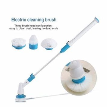 3 Heads Electric Spin Scrubber Cleaning Brush Bathroom Floor Tiles Household Clean Tool US Plug