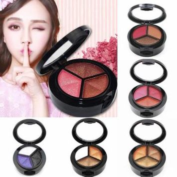 Glitters 3 Colors Shade Makeup Cosmetics Eyeshadow with Brush Mirror OCTAP