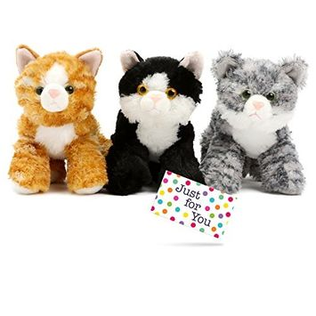 Just 4 U Gifts J4U Set of Three Mini Flopsie Cats with Gift Tag - One Each Lily, Molly, and Maynard