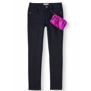 Squeeze - Squeeze Skinny Jean with Flip Sequin Pouch (Little Girls & Big Girls) [name: actual_color value: actual_color-darkwash]