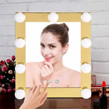 9 LED LED Cosmetic Makeup Mirror Bulb Tabletop Lighted with Touch Screen Dimmable