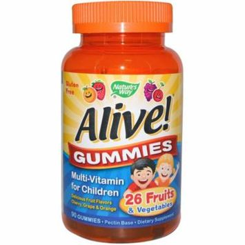 Nature's Way, Alive! Gummies, Multi-Vitamin for Children, Cherry, Grape & Orange, 90 Gummies(pack of 4)