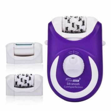 5-in-1 Epilator Electric Hair Removal Tweezers Wet and Dry Electric Shaver Pedicure Foot Care Callus Remover with 5 Extra Attachments US Plug Purple