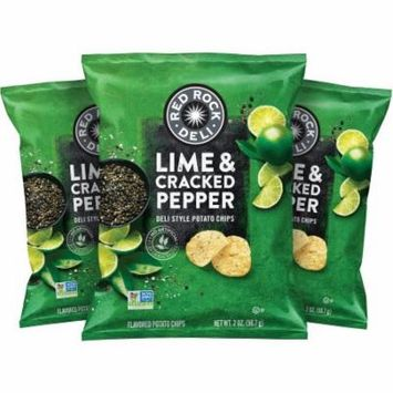 Red Rock Deli Lime & Cracked Pepper Flavored Deli Style Potato Chips, 2 Ounce (12 Bags)