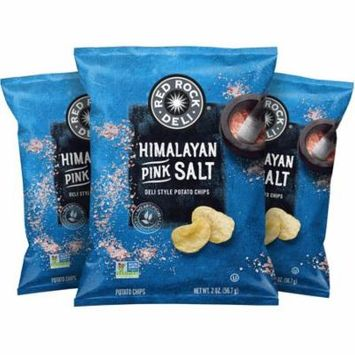 Red Rock Deli Himalayan Pink Salt Deli Style Potato Chips, 2 Ounce (12 Bags)