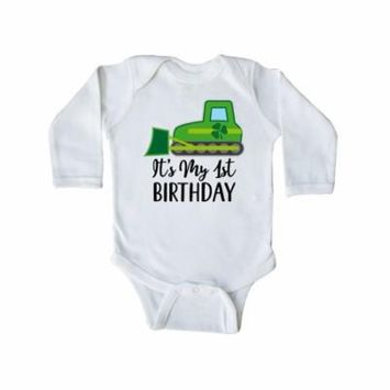 Irish 1st Birthday Shamrock Long Sleeve Creeper