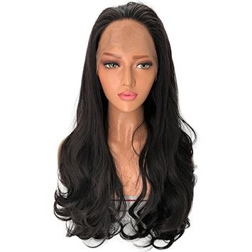 Alice Long Wavy Synthetic Lace Front Wig Glueless Black Natural High Temperature Heat Resistant Fiber Hair Wigs For Women 22 inches