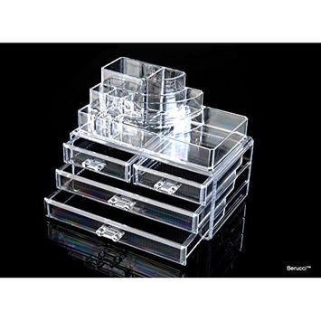 Berucci Clear Acrylic Jewelry Makeup Cosmetic Organizer Holder Storage – Two Piece Set with Four Bottom Drawers and Round Top Design
