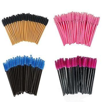 Shintop 200pcs Disposable Eyelash Brushes Kit, 4 Colors Eyelash Mascara Wands Makeup Applicators Kits