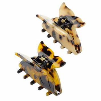 Women's French Smooth Acrylic Butterfly Wing Jaw Clamp Hair Clip 2 Pair Set, Brown/Beige