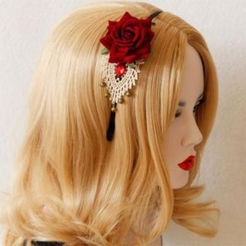 Girl12Queen Stylish Women's Rose Flower Rhinestone Bell Crochet Lace Headband Hair Band