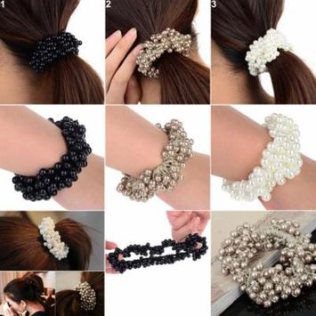 Girl12Queen Fashion Women Faux Pearls Beads Hair Band Rope Scrunchie Ponytail Holder