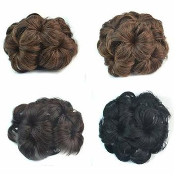 Girl12Queen Wavy Curly Synthetic Hair Bun Cover Hairpiece Clip Wig Scrunchie Hair Extensions