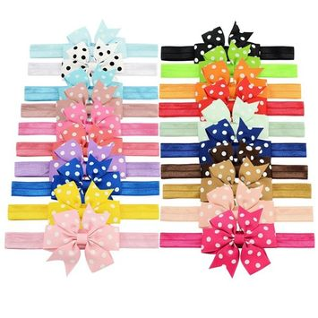 YOY Fashion Baby Girls Boutique Hair Accessories Stretchy Elastic Bands Headbands Set with Pinwheel Bows Head Wear for Toddlers Teens Kids Pack of 20