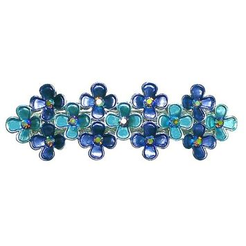 Medium Size Barrette Decorated with Sparkling Stones 5A86500-8blue