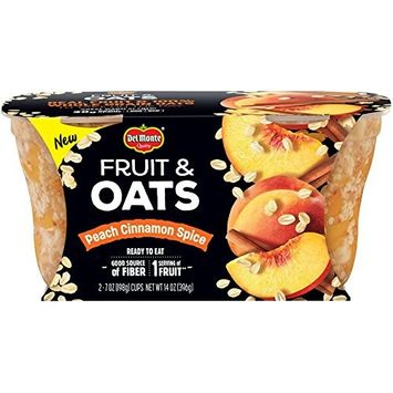 Del Monte Fruit and Oats Snack Cups, Peach Cinnamon Spice, 7-oz. Cups, 6-Count [Peach Cinnamon Spice]