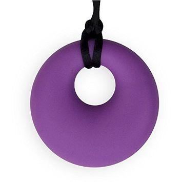 Stimtastic Chewable Silicone Round Pendant Nontoxic BPA and Phthalate Free, Azure