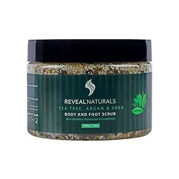 Reveal Naturals Body Scrub - Tea Tree Argan & Shea Foot Scrub -Dead Sea Salt Scrub - 12 Ounces [Tea Tree]