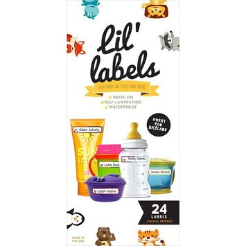 Bottle Labels, Write-On, Self-Laminating, Waterproof Kids Name Labels for Baby Bottles, Sippy Cup for Daycare School, Dishwasher Safe (Animal Friends), Made in the USA