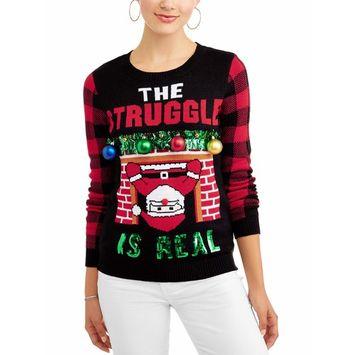 No Boundaries Junior's Tinsel Embellished Holiday Printed Christmas Sweater