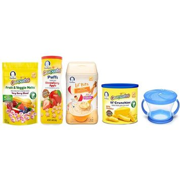 Gerber Baby Food Variety Pack of 5 - Puffs, Melts, Lil Bits Cereal, Lil Crunchies and Snack Catcher