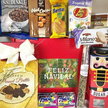 Feliz Navidad Christmas Gift Box Basket for the Holidays - Delicious Truffles, Peanut Brittle, Spicy Tea, Caramel Hot Cocoa, Dulce de Leche Dip, Tropical Jelly Beans, and More - Prime