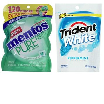 Mentos Spearmint Sugar Free Gum and Trident White Peppermint Sugar Free Gum Variety Pack. Convenient One-Stop Shopping. Easy to Source With 1 Click. Snacking Heaven!