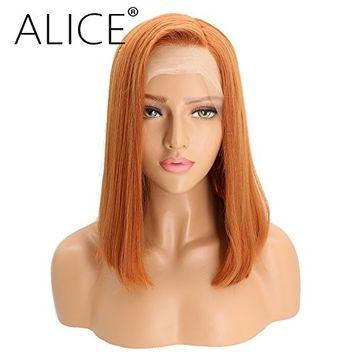 ALICE Lace Front Wigs Copper Orange Bob Wig, 14