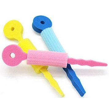3 Pcs Magic Flexible Hair Roller Sponge Tie Curler Soft Foam Sponge Wave Stick Styling Rolling Spiral Natural Bendy Circle Clip AOSTEK(TM)