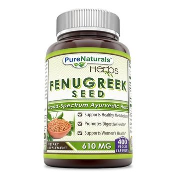 Pure Naturals Fenugreek Seed 610 Mg 180 Veggie Capsules- *Supports Healthy Blood Sugar Level*- Promotes Digestive Health*- Supports Women's Health*