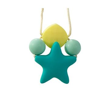 Stimtastic Chewable Silicone Star Pendant Necklace Nontoxic BPA and Phthalate Free, Turquoise