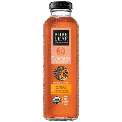 Pure Leaf Tea House Collection, Organic Black Tea Valencia Orange Peel, 14 oz Glass Bottles (12 Pack)