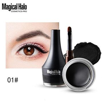 Hunputa 2 in 1 Black Brown Gel Eyeliner Set Water Proof Smudge Proof, Last for All Day Long, Work Great with Eyebrow, 1 Piece Eye Makeup Brushes Included